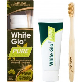 White Glo Pure & Natural 120gr + Bamboo Οδοντόβουρτσα