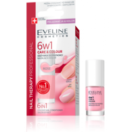 Eveline 6 in 1 Care & Colour Nail Conditioner Nail Therapy Rose 5ml E-K ROSE