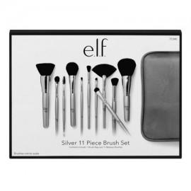 E.l.f. 11 Piece Silver Brush Collection Set Kit 75340 Elf Case Makeup