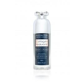 BEE FACTOR Κρέμα Νυκτός Κολλαγόνο Με Υαλουρονικό Οξύ & Βιταμίνη Ε – 30ml
